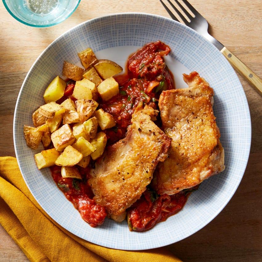 Crispy Chicken & Italian Tomato Sauce with Potatoes & Collard Greens