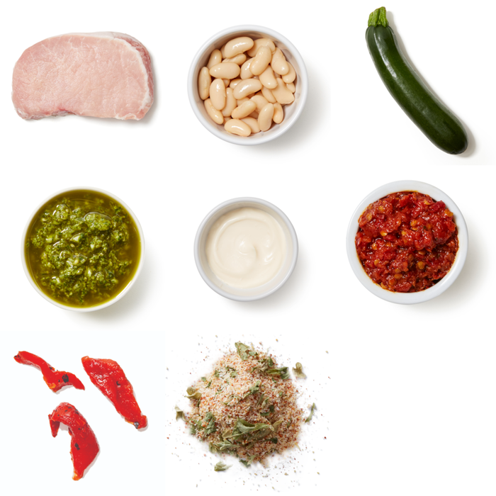 Grilled Pork Chops & Calabrian Mayo with Salsa Verde Beans & Zucchini