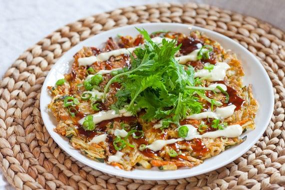 Recipe: Japanese Okonomiyaki with Dressed Mizuna & Garlic-Lemon Sauce ...