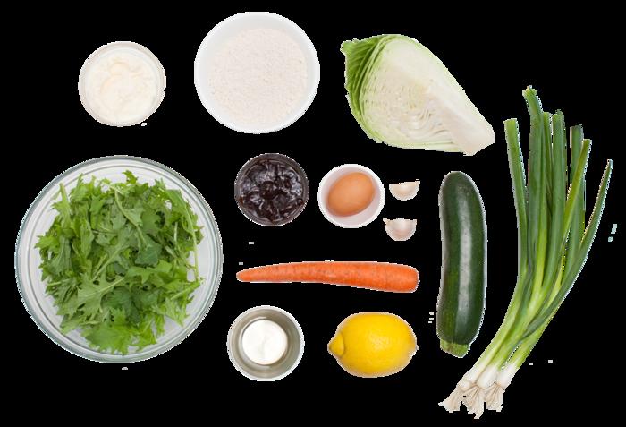 Japanese Okonomiyaki with Dressed Mizuna & Garlic-Lemon Sauce ingredients