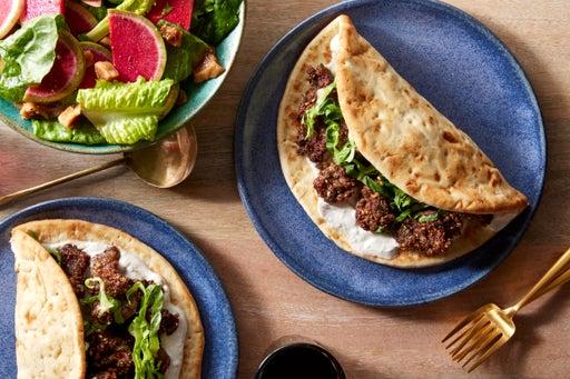 Za'atar-Spiced Beef Pitas with Watermelon Radish & Fig Salad