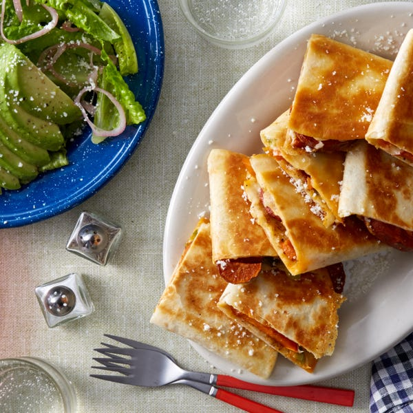 Roasted Sweet Potato Quesadillas with Pickled Peppers & Avocado Salad