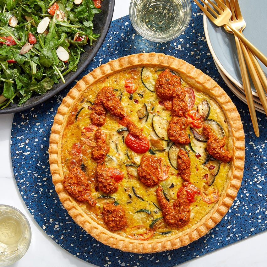 Zucchini & Tomato Quiche with Romesco Sauce & Arugula Salad