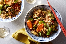 Vegetable Fried Rice with Togarashi Peanuts