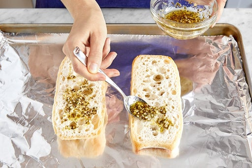 Bake the casserole & garlic bread