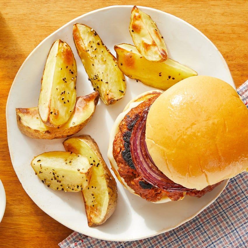 Pork Chorizo Burgers & Potato Wedges with Maple-Glazed Onion