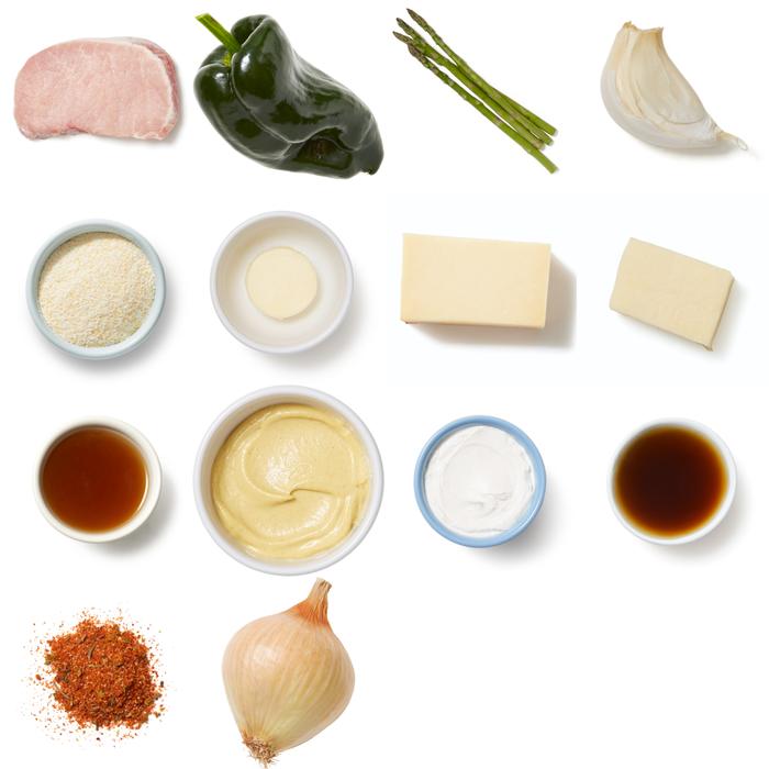 Mustard-Glazed Pork Chops with Cheesy Spoonbread & Sautéed Asparagus