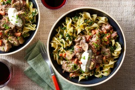 Beef & Mushroom Stroganoff with Buttered Egg Noodles & Kale
