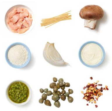 Creamy Mushroom & Chicken Pasta with Basil Pesto & Garlic Breadcrumbs