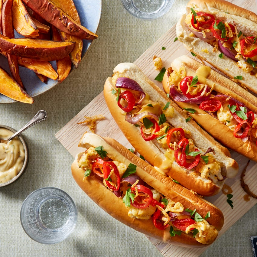 Cauliflower Cheesesteaks with Roasted Sweet Potato Wedges