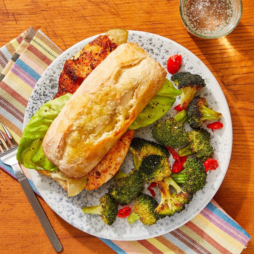 Cajun-Spiced Tilapia Sandwiches with Roasted Broccoli & Remoulade