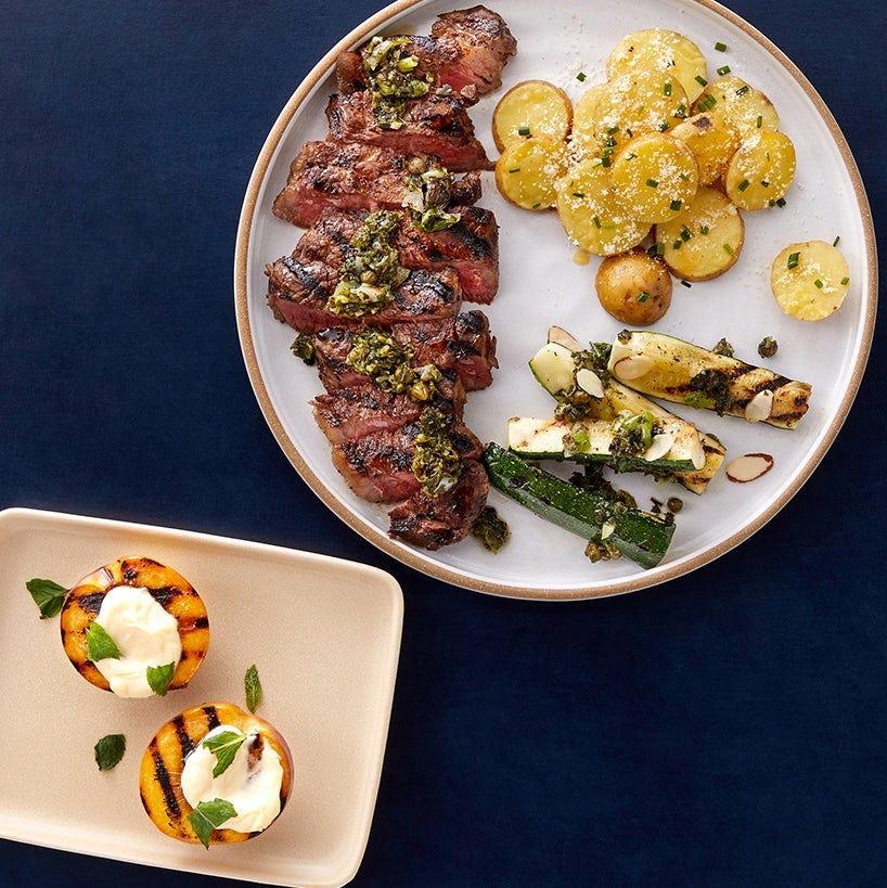 Father's Day Grilled NY Strip Steaks with Scallion Salsa Verde & Honey-Mascarpone Nectarine