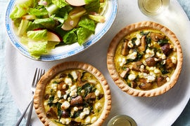 Mushroom & Goat Cheese Quiches with Green Leaf Lettuce Salad