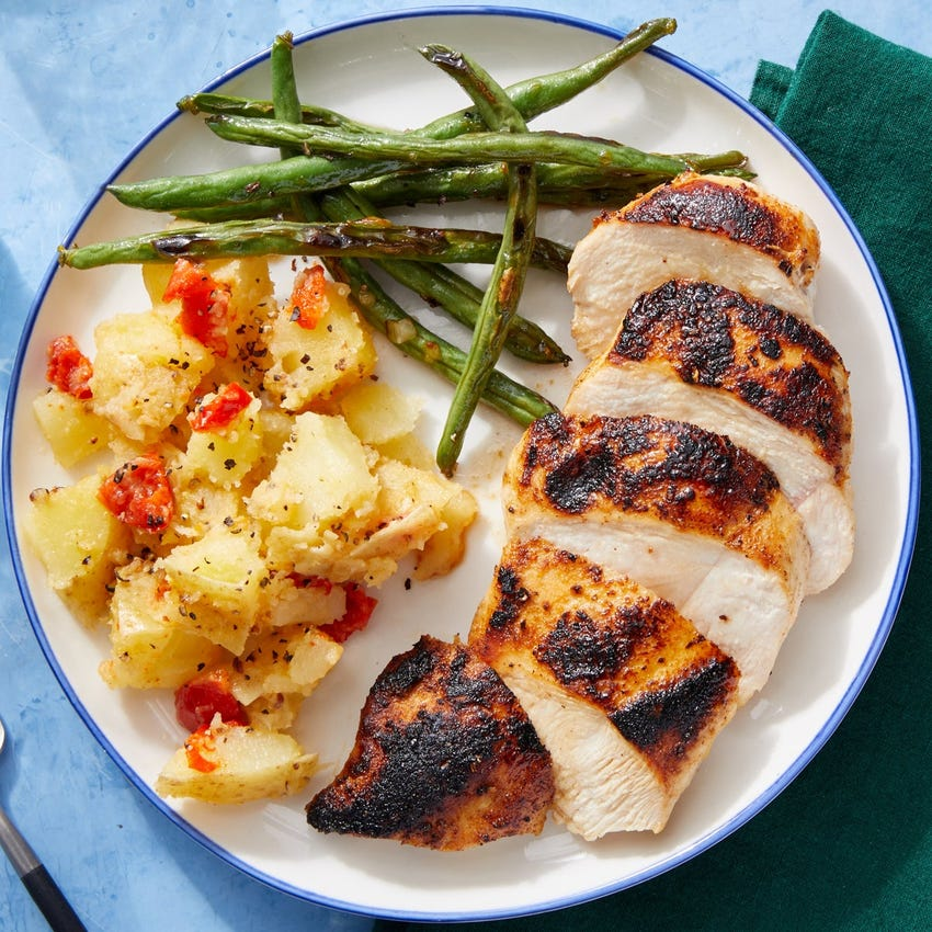 Southern-Spiced Chicken with Potato Salad & Maple Green Beans