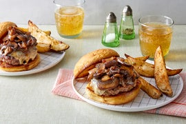 Mushroom & Swiss Cheeseburgers with Roasted Potato Wedges