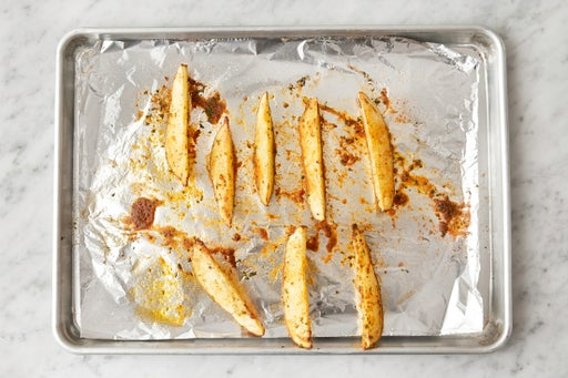 Prepare & roast the potato: