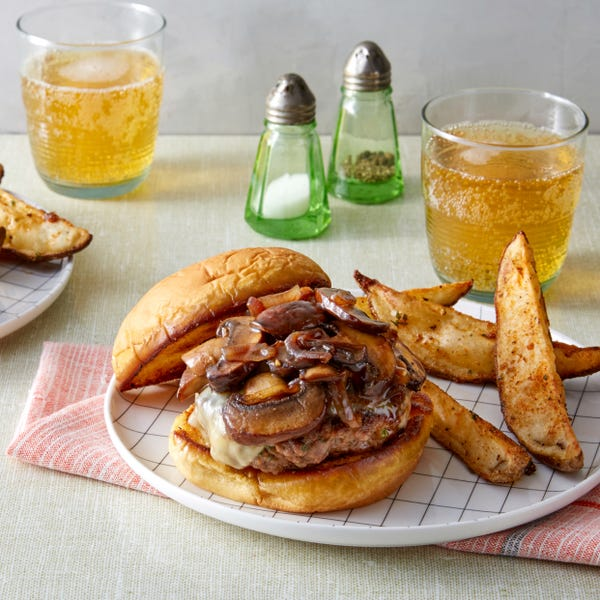 Mushroom & Swiss Cheeseburgers with Roasted Potato Wedges