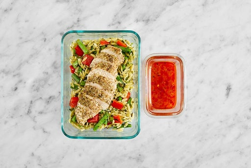 Assemble & Store the Calabrian Honey Chicken