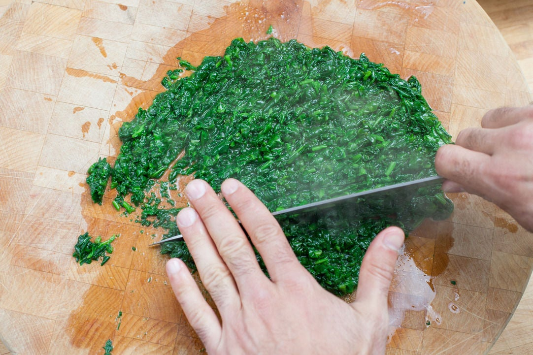 Chop the spinach: