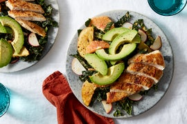Chicken & Orange-Kale Salad with Spicy Tahini Dressing