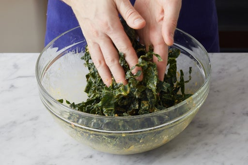 Make the dressing & marinate the kale: