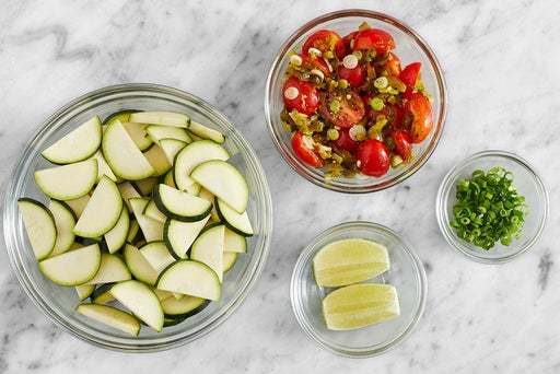 Prepare the ingredients & marinate the tomatoes