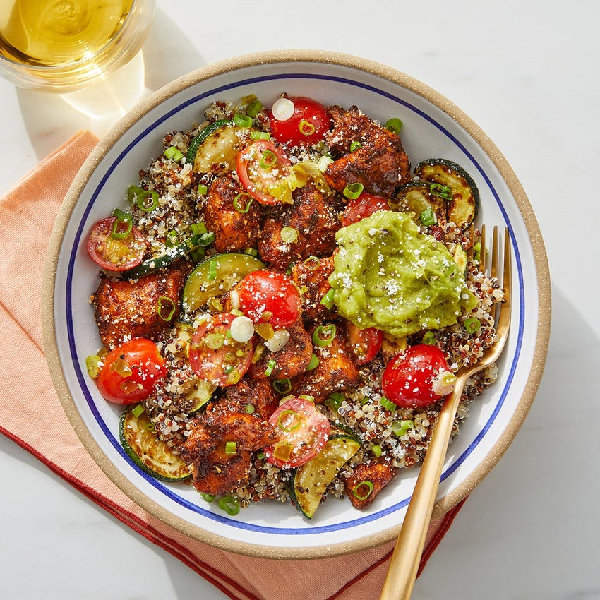 Ancho-Honey Chicken & Quinoa Bowl with Guacamole & Cotija