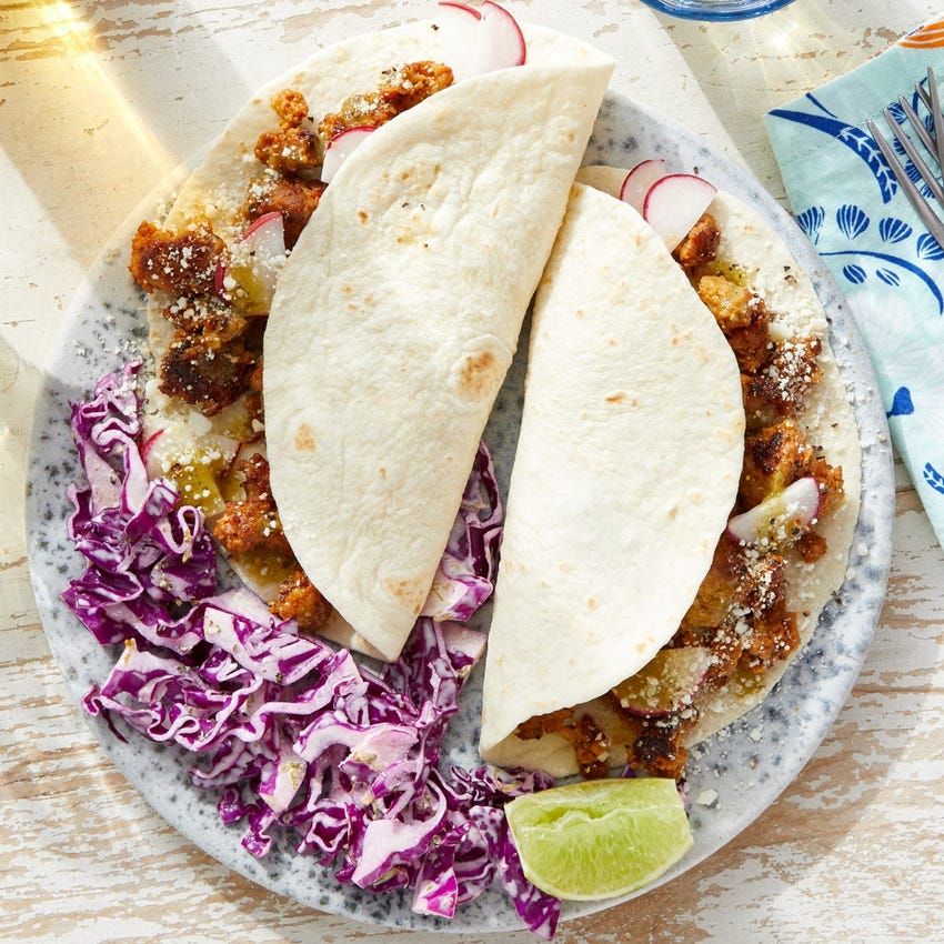 Tomatillo Pork Tacos with Lime Cabbage Slaw