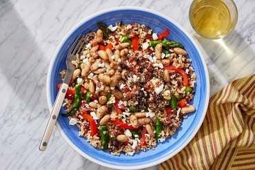 Za'atar White Bean & Rice Bowls with Asparagus, Bell Pepper & Marinated Feta