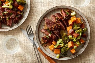 Steaks & Warm Lemon Salsa Verde with Roasted Broccoli & Sweet Potato