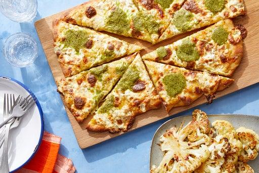 Yellow Tomato & Basil Pesto Pizza with Roasted Cauliflower & Hot Honey