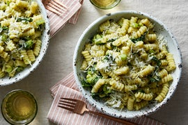 Pesto & Goat Cheese Fusilli with Chard