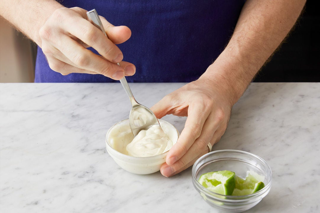 Make the lime sour cream & serve your dish: