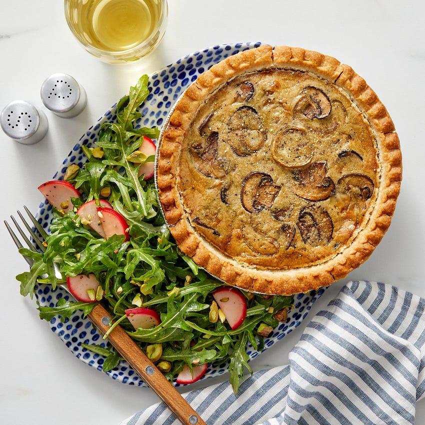 Truffle & Fontina Quiche with Arugula & Pistachio Salad