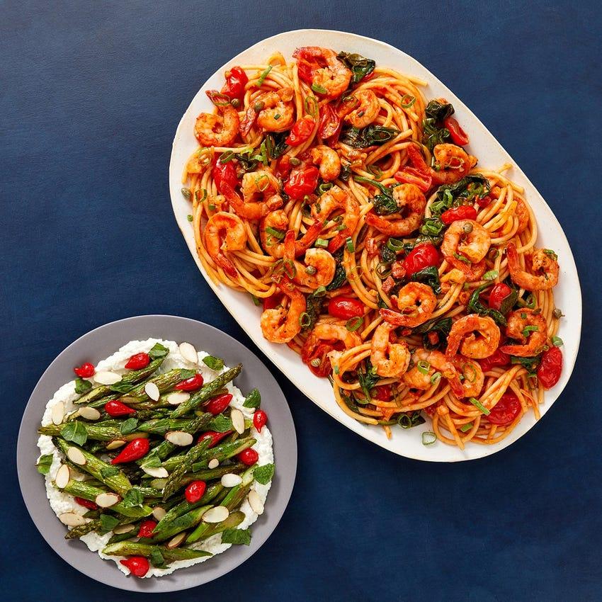 Calabrian Shrimp & Pancetta Pasta with Asparagus & Lemon Ricotta
