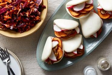 Sweet Potato & Mushroom Bao with Hoisin Mayo & Cabbage Slaw