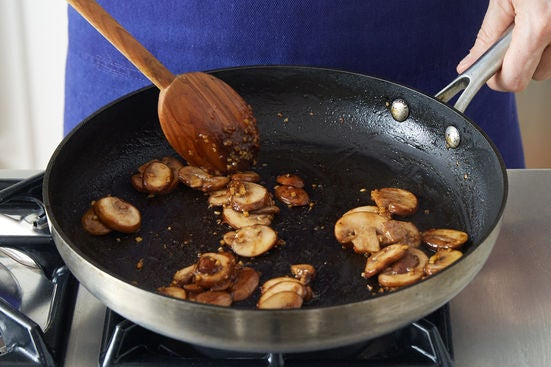 Cook & glaze the mushrooms:
