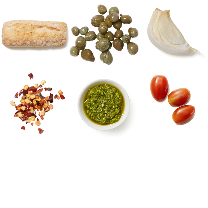 Tomato & Basil Pesto Crostini with Garlic & Capers
