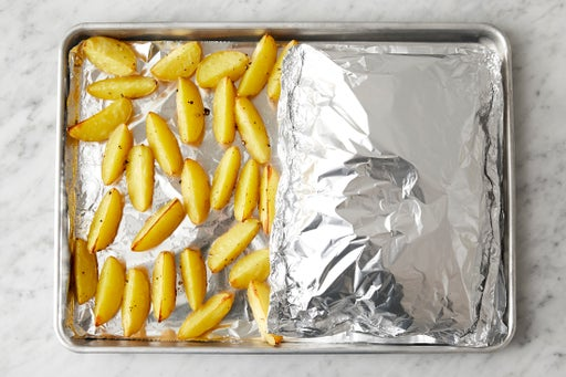 Prepare the foil packet & roast the vegetables: