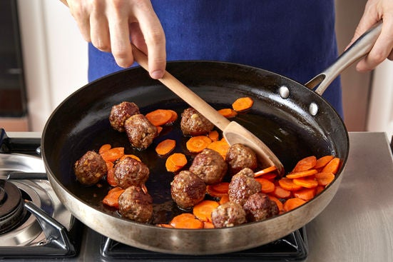 Cook the meatballs & carrots: