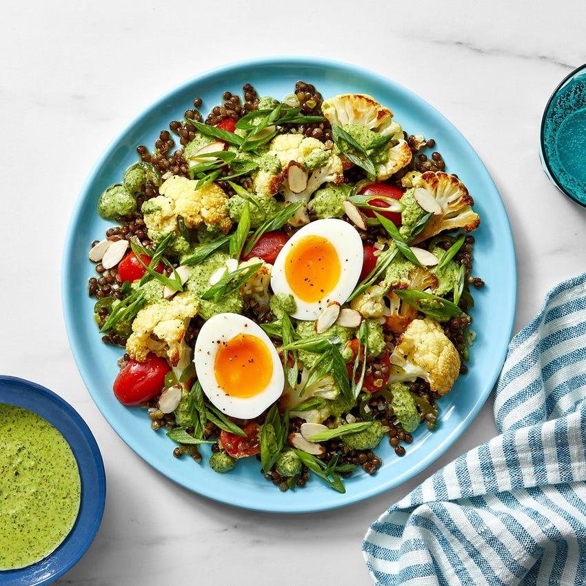 Lentil & Roasted Cauliflower Salad with Jalapeño Vinaigrette & Creamy Salsa Verde