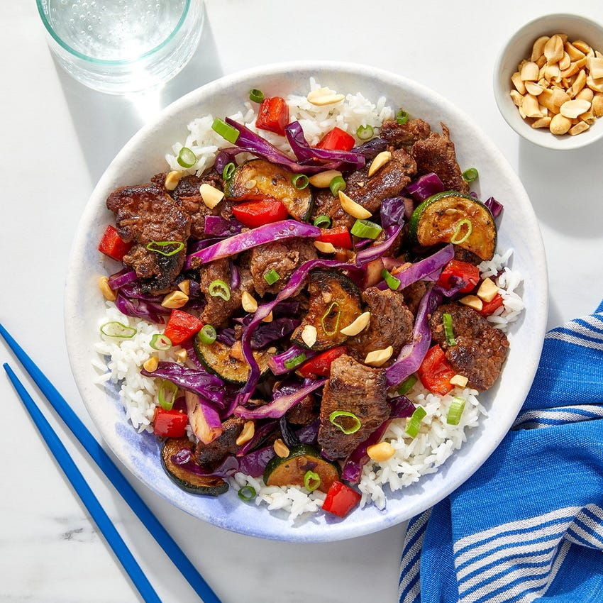 Cumin-Sichuan Beef Stir-Fry with Rice, Cabbage & Peanuts