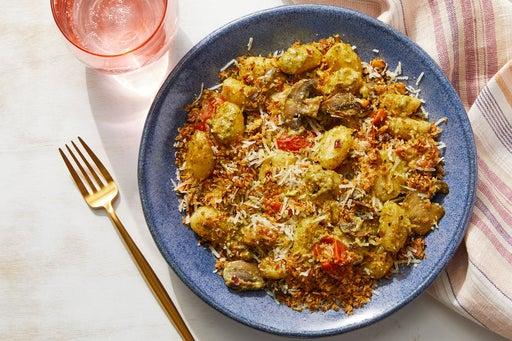 Basil Pesto Gnocchi with Mushrooms & Pistachio Breadcrumbs