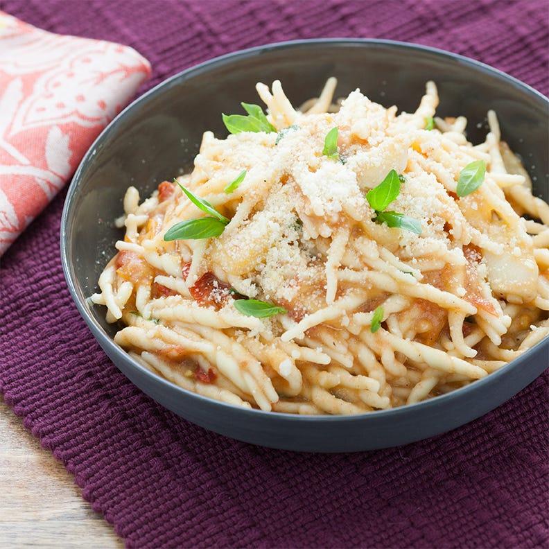 Trofie Pasta  with Golden Garlic & Heirloom Tomatoes