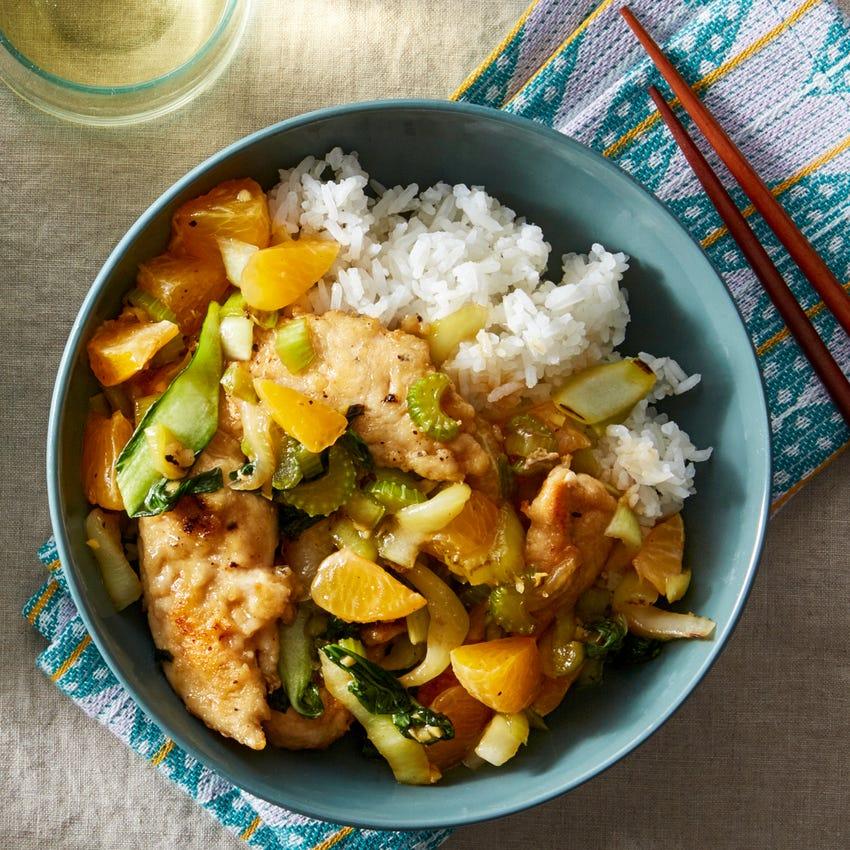 Chicken & Orange Stir-Fry with Jasmine Rice