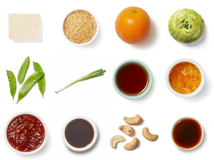 Orange Tofu & Brown Rice with Snow Peas, Kohlrabi & Cashews