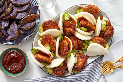 Pork & Marinated Cucumber Steam Buns with Purple Potatoes & Hoisin Ketchup