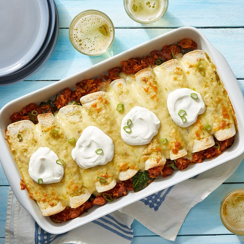 Beyond Beef™ Enchiladas with Spinach, Jalapeño & Poblano Pepper