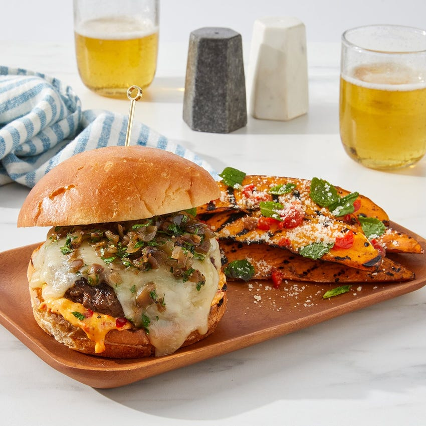 Grilled Italian Burgers with Fontina, Calabrian Mayo &  Balsamic-Herb Onions