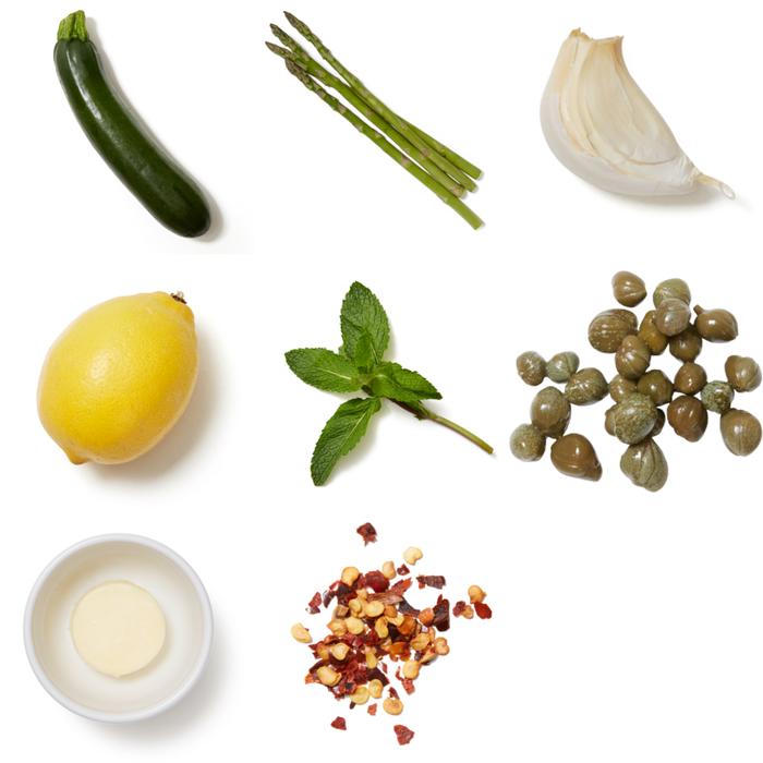 Sautéed Zucchini & Asparagus with Capers, Butter & Lemon